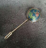 Vintage Crown & Fish Cloisonne enamel lapel pin red flower hat pin brooch