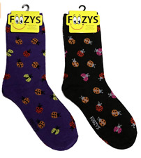 Ladybug Beetle Bug Insect Fly Aphids Luck Animal 2 Pairs Foozys Women's Socks