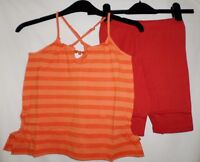 Girls Two Pce Spaghetti T Shirt Top and Shorts Set Stripped orange Age 3-6 years