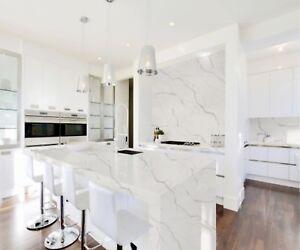 luxury Siena calacatta quartz marble kitchen work tops island breakfast bar