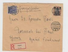Danzig: 1921 R- cover, Zoppot to Switzerland, franking incl.Mi. 26I (or 41I ??)