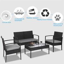 4 Pcs Outdoor Patio Rattan Wicker Furniture Set Table Sofa Cushioned Black