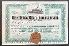 MOTSINGER ROTARY ENGINE CO Stock 1914. Inventor N.H. Motsinger. ENGINE VIG. VF++