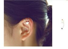 BEAUTIFUL CLIP ON EAR CUFF WITH LOVE HEART ROCK PUNK EDGY CHRISTMAS GIFT