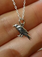 NEW 925 Sterling Silver Small Raven Pendant Necklace