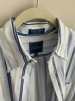 Mens Faconnable Striped Long Sleeve Button Up Dress Shirt Medium