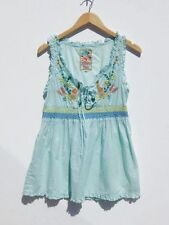 JOHNNY WAS~NWT~JWLA Aqua Cotton Embroidered Lace Up & Ruffles Baby Doll Top~S