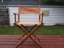 """c. Vintage Commander Chair Director's Style Peach  Wood  About 33 1/4"""" Side Back"""