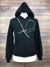 American Apparel Men's Sweatshirt Zip Hoodie Medium Black Graphic on Front, A11