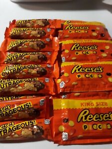 Reese's Pieces Peanut Butter Candy 16 King Size Bags. 3.0 oz & 9 Outrageous Bars