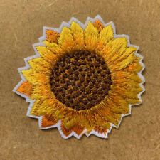 1pc Sunflower Gold Embroidered Patch Cloth Iron On Applique craft sewing #1357