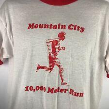 Vintage Mountain City 10K Marathon T shirt Sunbelt Sz Xl 80's Ringer Single Stit