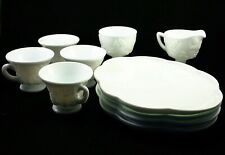 Vintage Milk Glass 10pc Snack Set 4 Cups 4 Plates Creamer & Sugar Grape Harvest