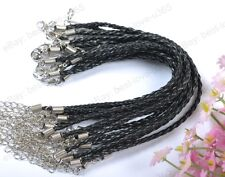 FREE SHIP 20pcs Black Braided Leather Charms Bracelets Cord 190MM BE752