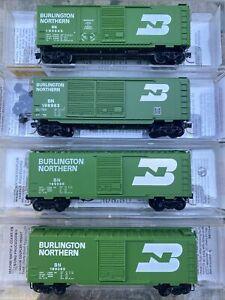 n scale MTL micro train 40' box car runner pack set 4RD# Burlington Northern BN