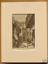 ALLEY IN CHINESE QUARTER SAN FRANCISC0 USA RARE MOUNTED ANTIQUE ENGRAVING 1876