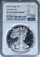 2020 S 1 OZ NGC PF70 ER ULTRA CAMEO PROOF SILVER AMERICAN EAGLE .999 FINE $1