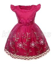 NEW Flower Girl Pageant Birthday Formal Party Fancy Dress Cerise Pink 2T Z593C