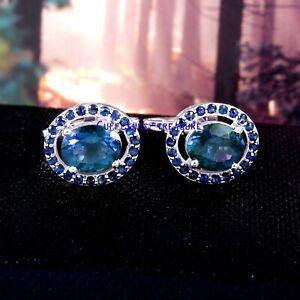 Natural Landon blue topaz & Sapphire Gemstones 925 sterling silver Cufflinks