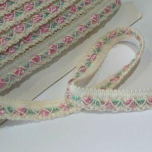 3 metres of VINTAGE cream/pink/green rose pattern 21mm wide Braid Trim