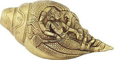 Blowing Shankh/Conch in Antique Finish Brass with Rich Sculpting Vishnu Lakshmi