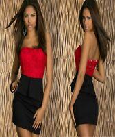 Sz S 8 10 Red Black Strapless Peplum Sexy Formal Cocktail Party Club Mini Dress
