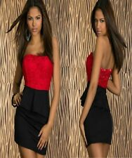 Sz S 8 10 Red Black Strapless Peplum Sexy Formal Cocktail Party Club Mini Dress