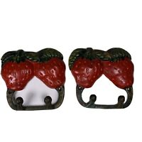 VINTAGE STRAWBERRY PAINTED HOOKS KEY HOOK KITCHEN POTHOLDER HOOK CAST IRON Set