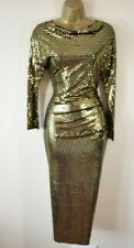 NEW VIVIENNE WESTWOOD THIGH S Shimmering Gold Textured Draped Midi Party Dress