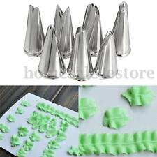 7pcs Russian Leaf Flower Icing Piping Nozzles Tips Cake Decorating Baking Tools