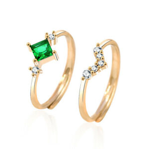 Unique Gold Plated Engagement Ring Set Green Cz Open Band V Shape Girls Gifts
