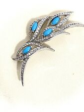 Vintage Panetta Faux Turquoise And Rhinestones Brooch Pin
