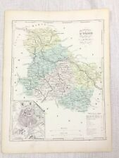 1881 Antique French Map Auxerre Burgundy France Rare Hand Coloured Engraving