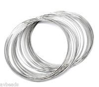 200 Loops Silver Tone Bracelet Steel Memory Beading Wire 60-65mm Dia AVBeads