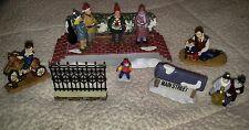 christmas house village extras holiday main street Xmas carolers fence kids