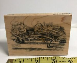 Inkadinkado Wooden Bridge over Lake Pond River forest park geese Rubber Stamp
