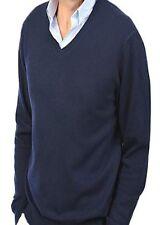 Balldiri 100% Cashmere señores suéter V escote azul oscuro XL