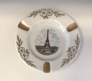 Vintage Limoges Ashtray Eiffel Tower Paris France White Porcelain Gold Accents