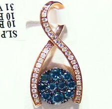 Blue Round Cut Reversible Necklace 1.14Ct 14K Gold Natural Diamond Chocolate