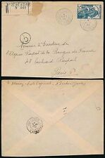 FRENCH GUINEA WW2 1940 to FRANCE REGISTERED NZEREKORE + CENSOR C1...SINGLE 3F