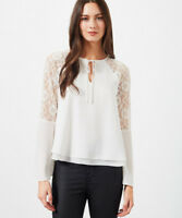 Miss Selfridge NEW Womens Lace Insert Top Blouse in White Sizes 6 to 16