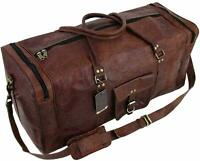 Men's Large High-Quality Vintage Leather Duffel Travel Luggage Weekend Sport Bag