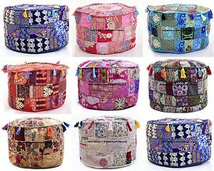 Round Ottoman Pouf Cover Embroidered Patchwork Bohemian Indian Decor Floor Pouf