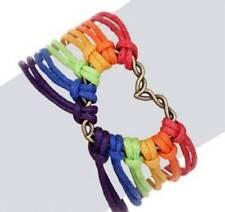 LGBT Gay Pride Equality Weaved Rainbow Love friendship Wristband Heart Bracelet