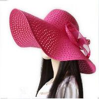 Fashion Women Wide Large Brim Floppy Fold Summer Beach Sun Straw Beach Derby Hat
