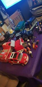 Large Playmobil Police And Fire Bundle