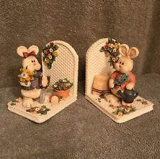 "Vintage Beautiful Rabbit/ Floral Bookends By ""Artisan Flair�."