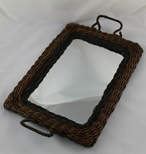 Tray Wicker with Mirror Style Vintage, Shabby Chic Decoration