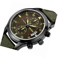 Banda de nylon militar yisuya Cronógrafo Impermeable Relojes de pulsera, verde militar hombre