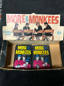 Vintage 1967 The Monkees wax packs & Display Box- Unopened
